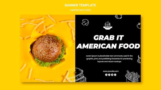 Sjabloon voor spandoek van amerikaans eten Gratis Psd