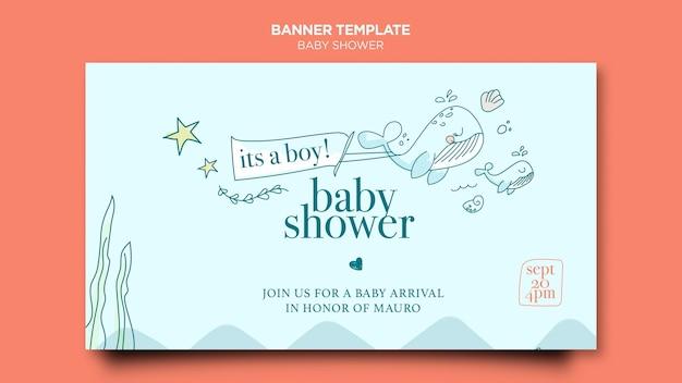 Sjabloon voor spandoek van baby shower viering Gratis Psd