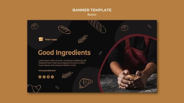 Sjabloon voor spandoek van baker gastronomische ingrediënten Gratis Psd