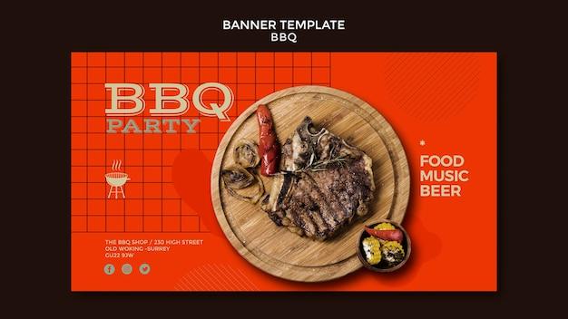 Sjabloon voor spandoek van barbecue partij Gratis Psd
