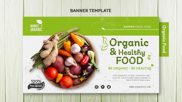 Sjabloon voor spandoek van biologisch voedsel concept Gratis Psd