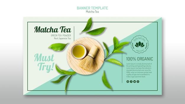 Sjabloon voor spandoek van biologische matcha-thee Gratis Psd