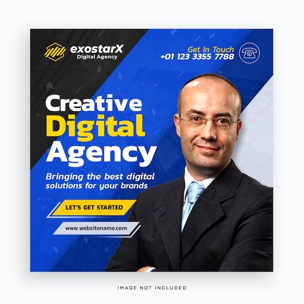 Sjabloon voor spandoek van creatief digitaal bureau Premium Psd