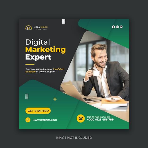 Sjabloon voor spandoek van digitale marketingexpert sociale media Premium Psd