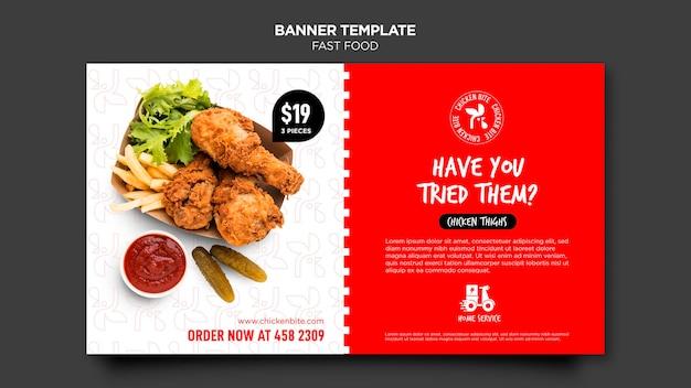 Sjabloon voor spandoek van fast food advertentie Gratis Psd
