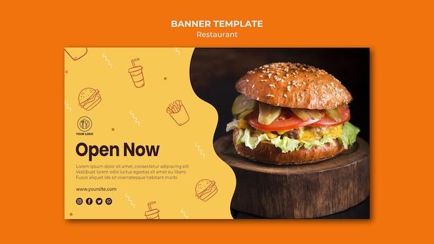 Sjabloon voor spandoek van hamburgerrestaurant met foto Gratis Psd