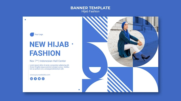 Sjabloon voor spandoek van hijab mode Gratis Psd