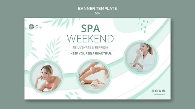 Sjabloon voor spandoek van jonge vrouwelijke spa weekend Premium Psd