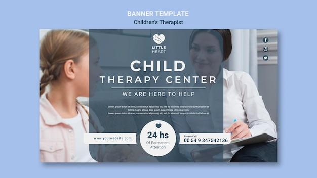 Sjabloon voor spandoek van kindertherapeut concept Gratis Psd