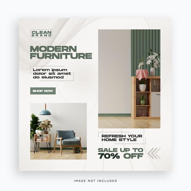 Sjabloon voor spandoek van moderne meubels sociale media Premium Psd