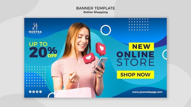 Sjabloon voor spandoek van online winkelen concept Gratis Psd