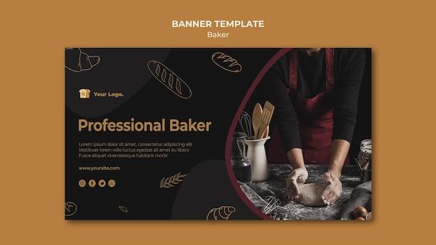 Sjabloon voor spandoek van professionele bakker Gratis Psd