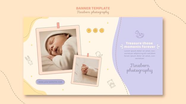 Sjabloon voor spandoek van schattige slapende baby Gratis Psd