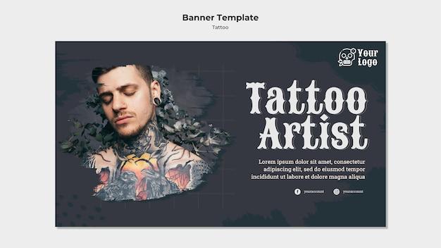 Sjabloon voor spandoek van tattoo-artiest Gratis Psd