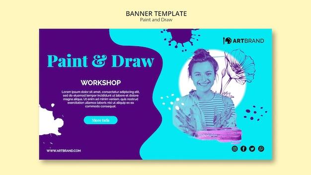 Sjabloon voor spandoek van workshop schilderen en tekenen Gratis Psd