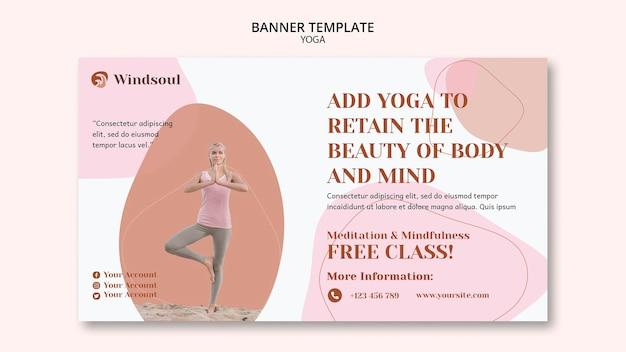 Sjabloon voor spandoek van yoga en meditatie Gratis Psd