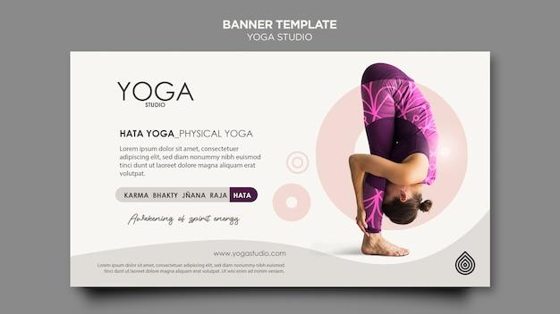 Sjabloon voor spandoek van yoga studio Gratis Psd