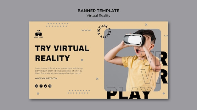 Sjabloon voor spandoek virtual reality Gratis Psd