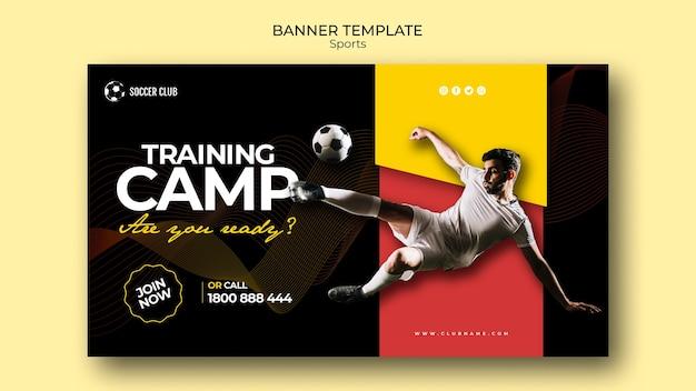 Sjabloon voor spandoek voetbal club trainingskamp Gratis Psd