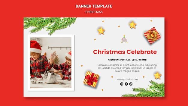 Sjabloon voor spandoek voor kerstfeest met kinderen in kerstmutsen Gratis Psd