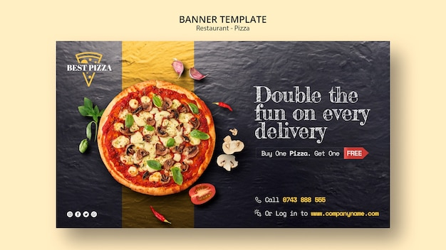 Sjabloon voor spandoek voor pizzarestaurant Gratis Psd
