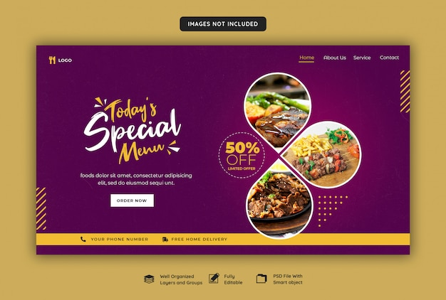 Sjabloon voor spandoek web restaurant Premium Psd