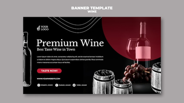 Sjabloon voor spandoek wijnproeverij Gratis Psd