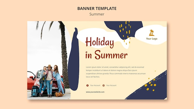 Sjabloon voor spandoek zomer concept Gratis Psd