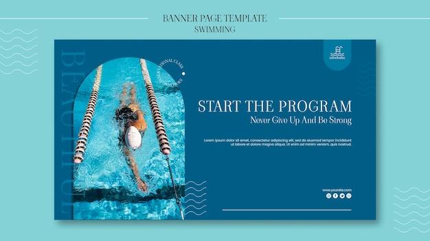Sjabloon voor spandoek zwemmen met foto Gratis Psd