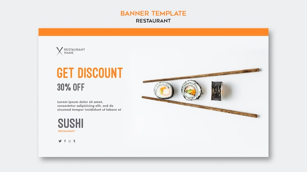 Sjabloon voor sushi restaurant horizontale spandoek Gratis Psd