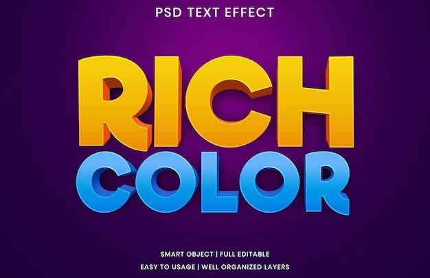 Sjabloon voor teksteffect in rijke kleuren Premium Psd