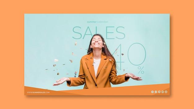 Sjabloon voor verkoopbanners met afbeelding Gratis Psd