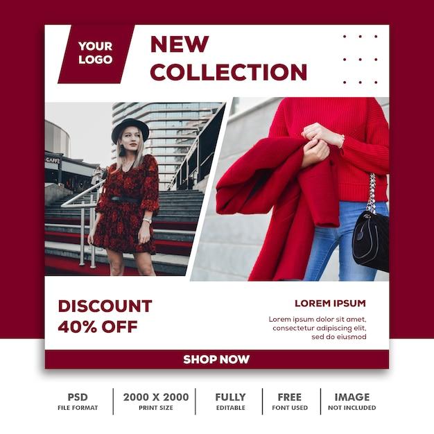 Sjabloon voor vierkante spandoek, mooi meisje fashion model elegante rode collectie Premium Psd