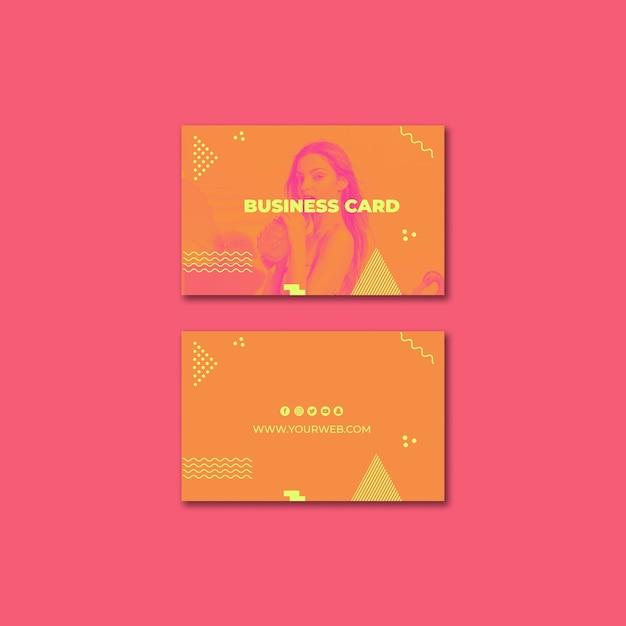 Sjabloon voor visitekaartjes in memphis stijl met zomer concept Gratis Psd