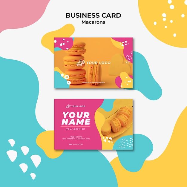Sjabloon voor visitekaartjes macarons zoetwaren Gratis Psd