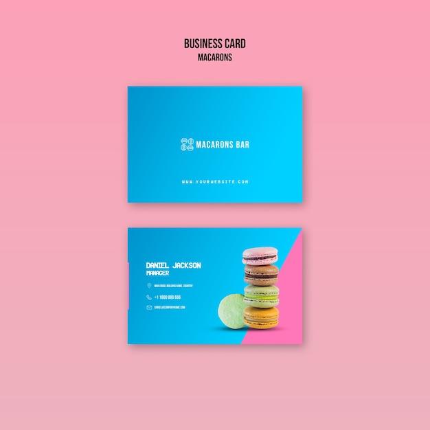 Sjabloon voor visitekaartjes macarons Gratis Psd