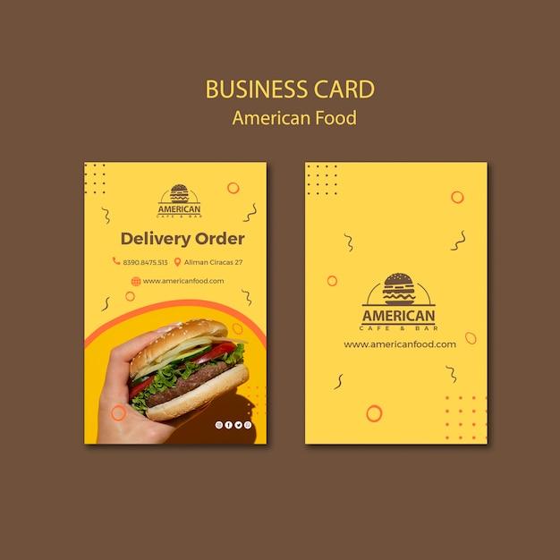 Sjabloon voor visitekaartjes met amerikaans eten Gratis Psd