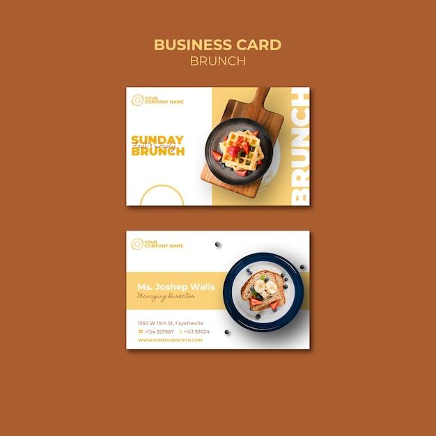 Sjabloon voor visitekaartjes met brunch thema Gratis Psd