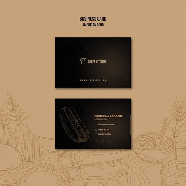 Sjabloon voor visitekaartjes van amerikaanse klassieke hotdogs Gratis Psd