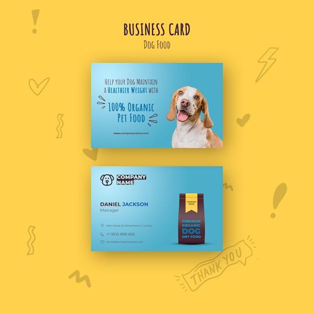 Sjabloon voor visitekaartjes van biologisch voedsel voor huisdieren Gratis Psd