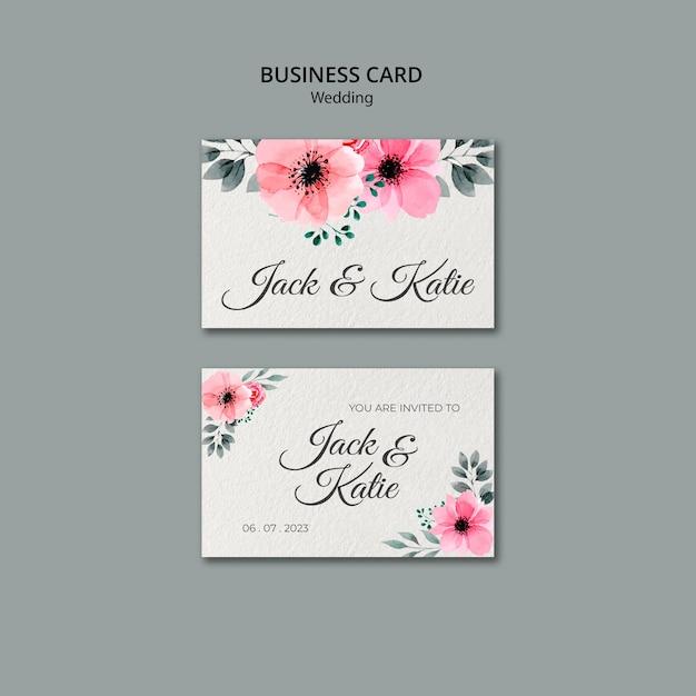 Sjabloon voor visitekaartjes van bruiloft concept Gratis Psd