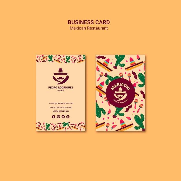 Sjabloon voor visitekaartjes van mexicaans restaurant Gratis Psd