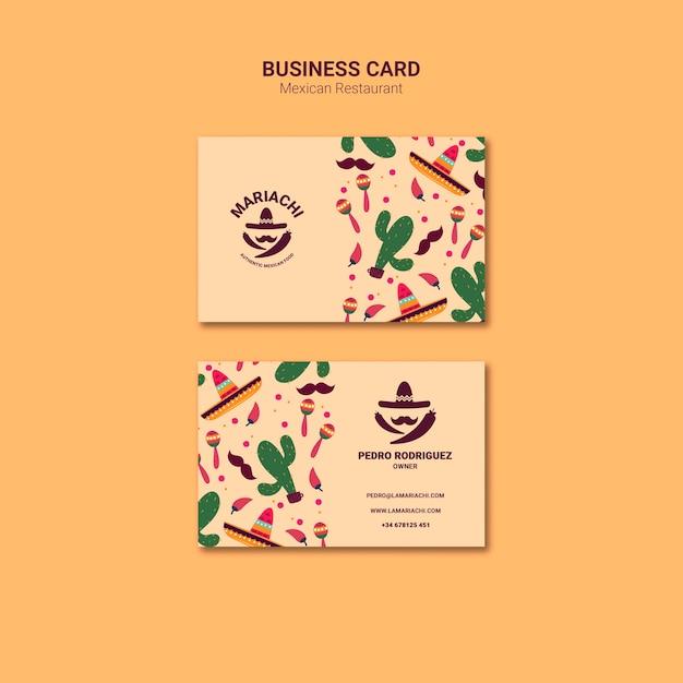 Sjabloon voor visitekaartjes van mexicaanse traditionele gerechten restaurant Gratis Psd