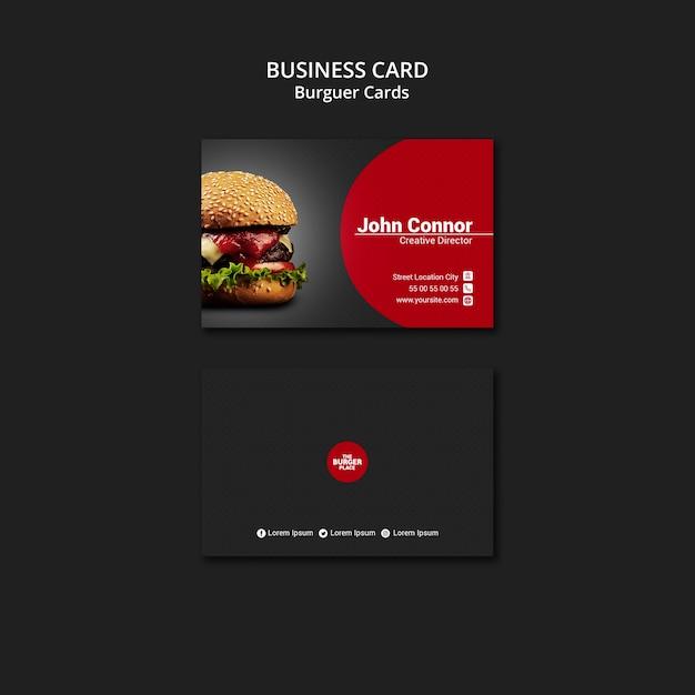 Sjabloon voor visitekaartjes voor burger restaurant Gratis Psd