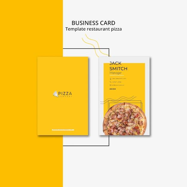 Sjabloon voor visitekaartjes voor pizzarestaurant Gratis Psd
