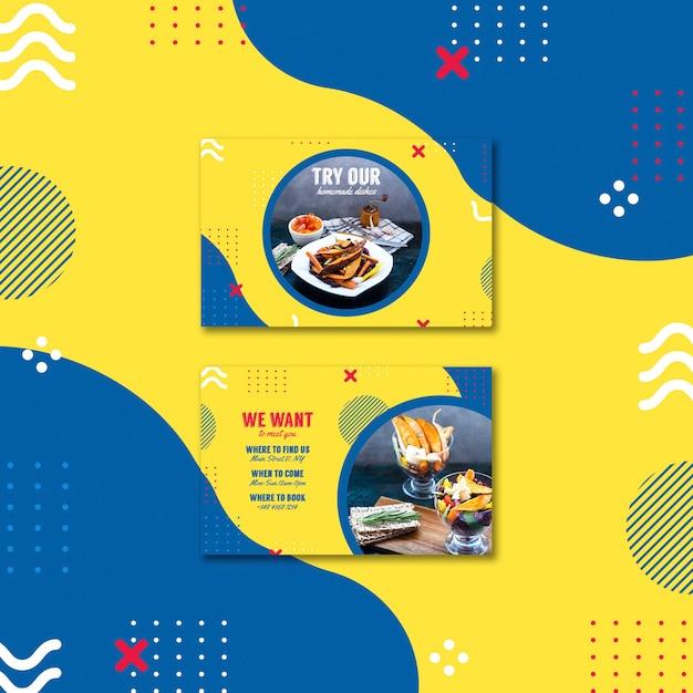 Sjabloon voor visitekaartjes voor restaurant in de stijl van memphis Gratis Psd