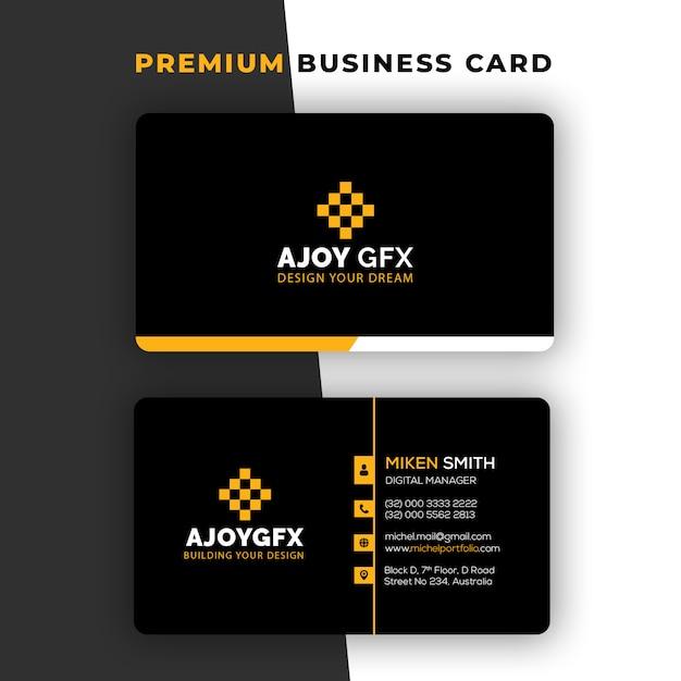 Sjabloon voor zwarte eenvoudige visitekaartjes Premium Psd