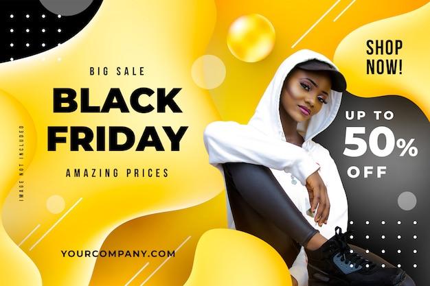 Sjabloon voor zwarte vrijdag vloeibare spandoek Gratis Psd