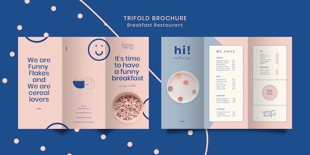 Sjabloonconcept voor restaurant driebladige brochure Gratis Psd