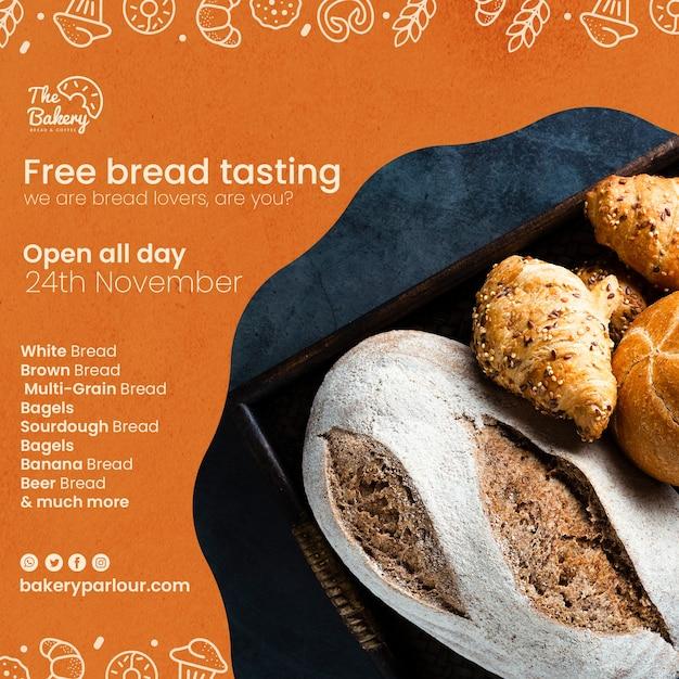 Sjabloonontwerp voor promotie van broodproducten Gratis Psd